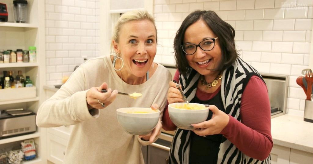 collin and lina eating keto soup