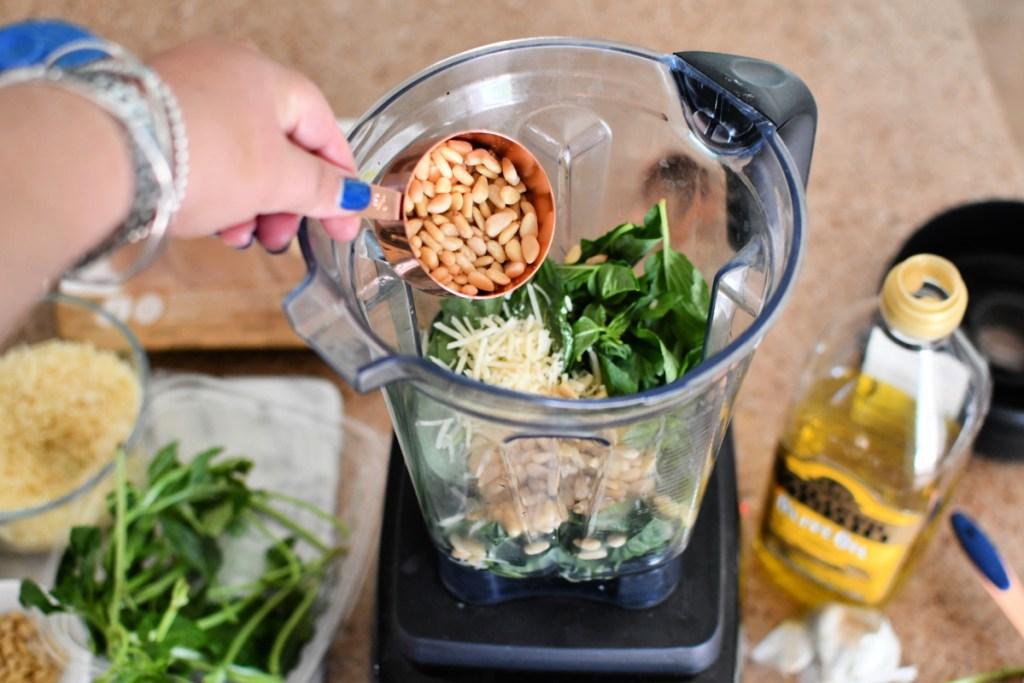 making homemade pesto in vitamix