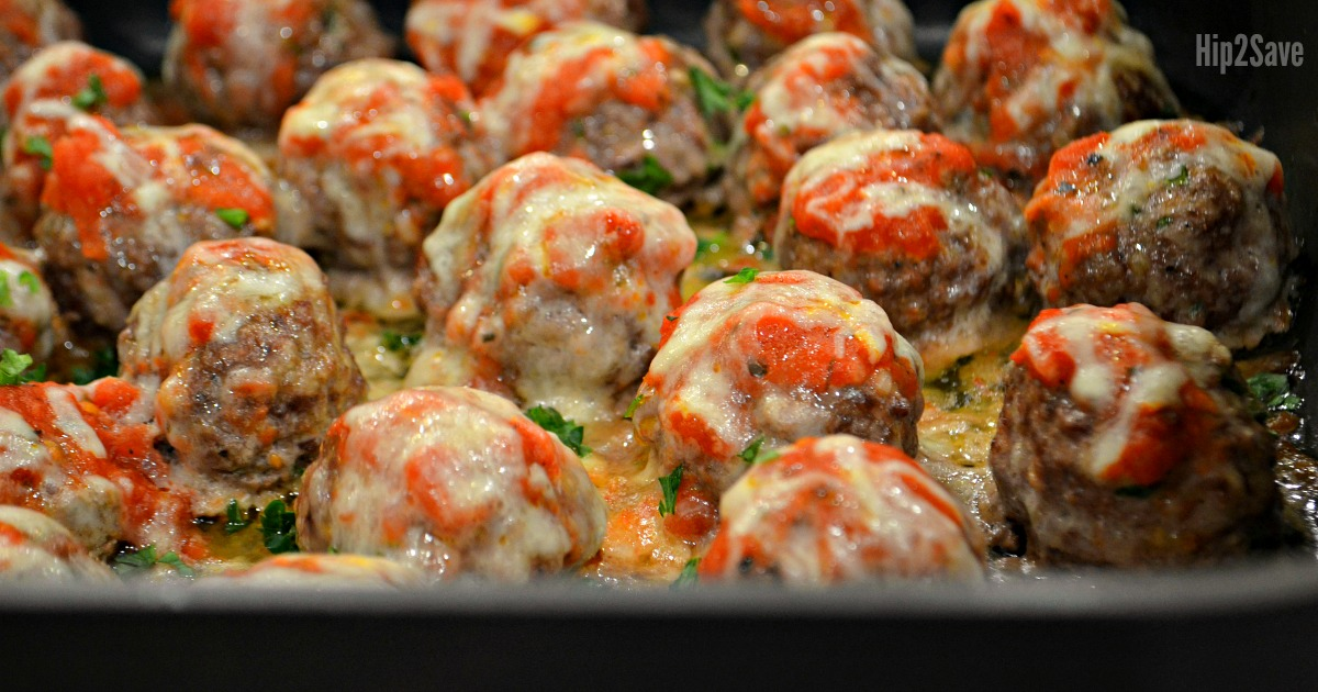 low carb meatballs recipe in a baking pan