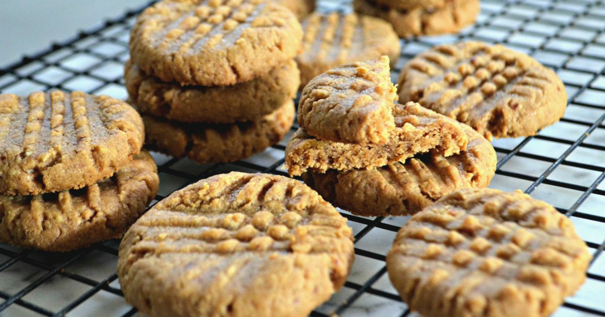 3-ingredient keto peanut butter cookies on a cooling rack