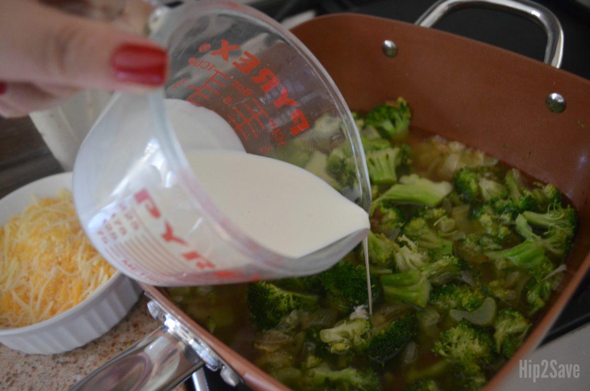 keto broccoli cheddar soup – adding heavy cream