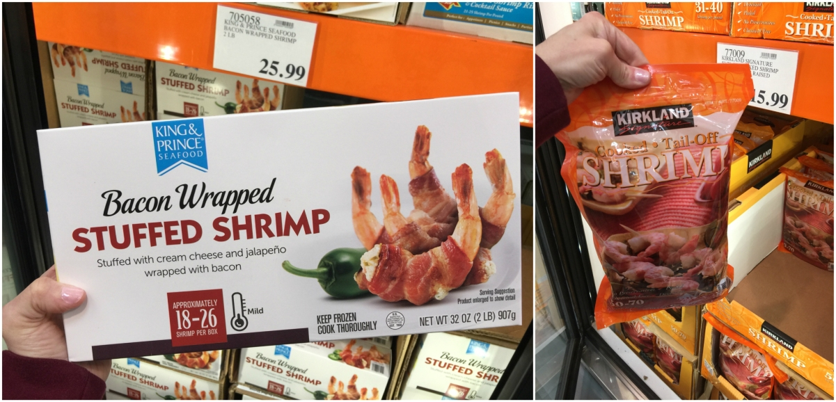 keto frozen foods at costco including bacon wrapped shrimp and cooked shrimp