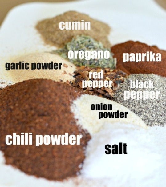 Homemade taco seasoning ingredients arranged on a plate