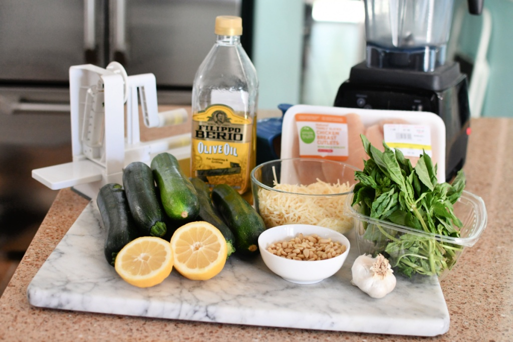 homemade pesto zucchini noodle ingredients