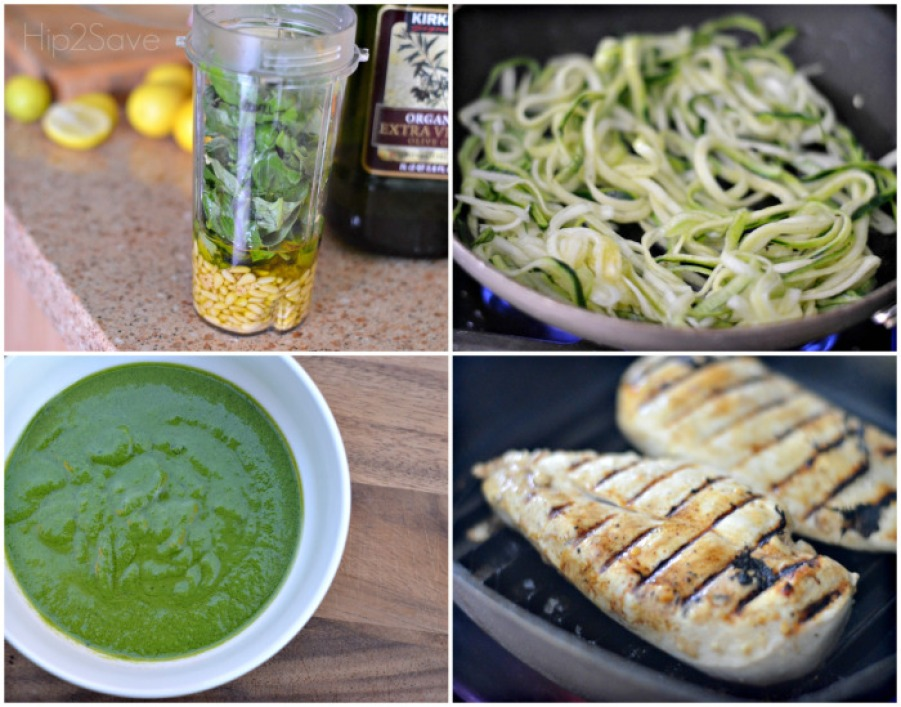 steps to make the chicken pesto zucchini noodles recipe