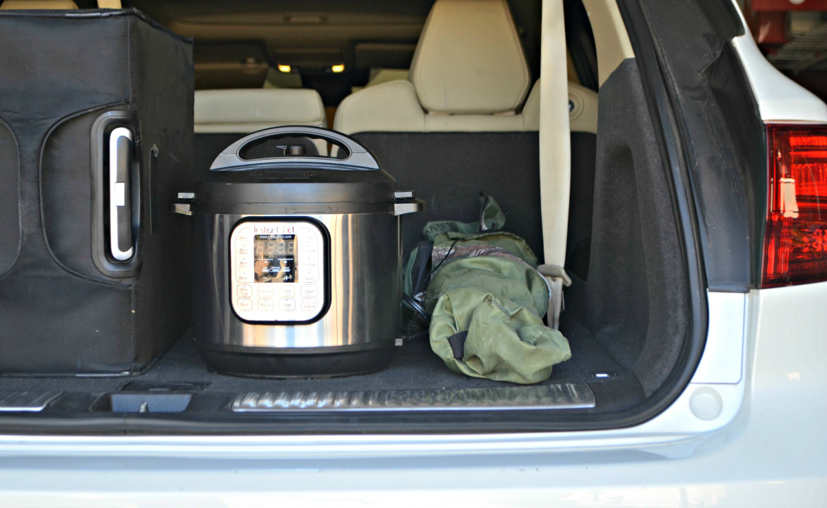 instant pot in trunk of car