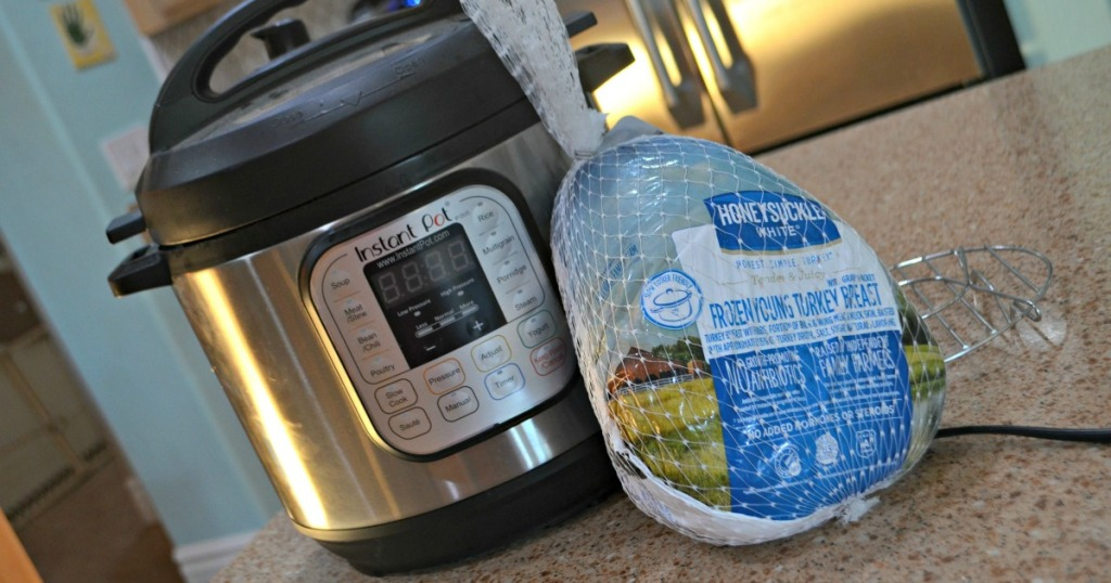 frozen turkey next to instant pot