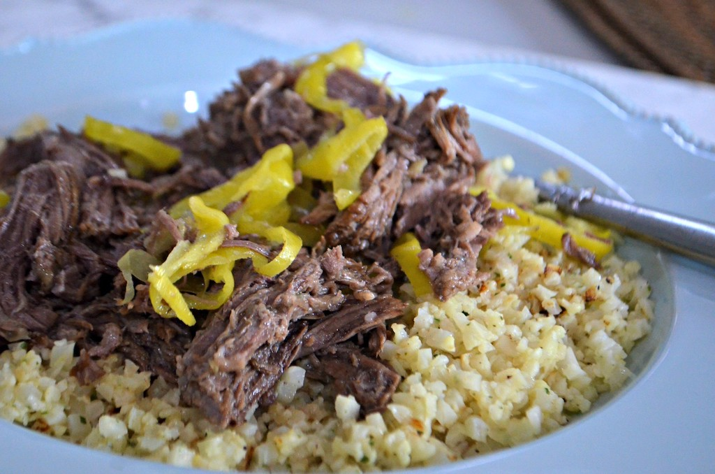 shredded italian beef over cauliflower rice