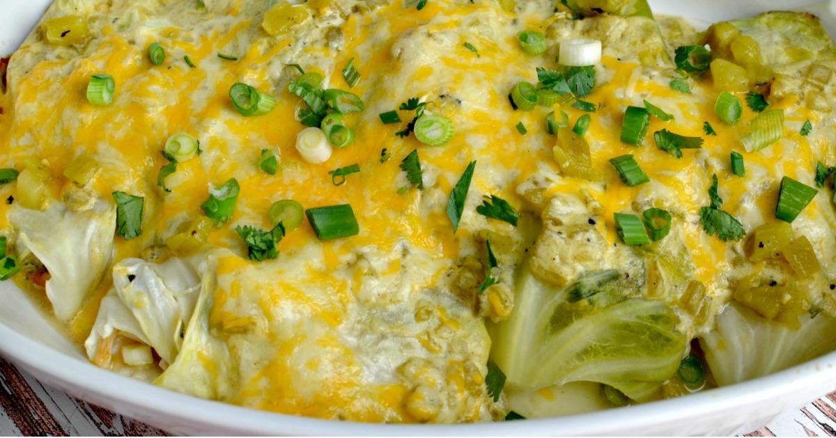 Green Chile Cabbage Enchiladas