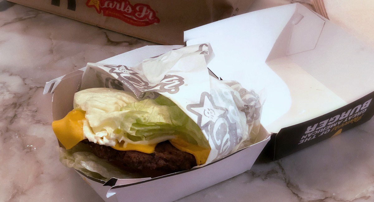 keto lettuce wrapped burger from carl's jr