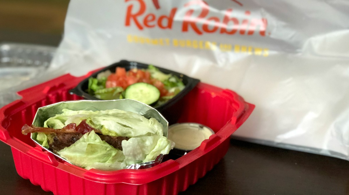 keto lettuce wrapped burger from red robin