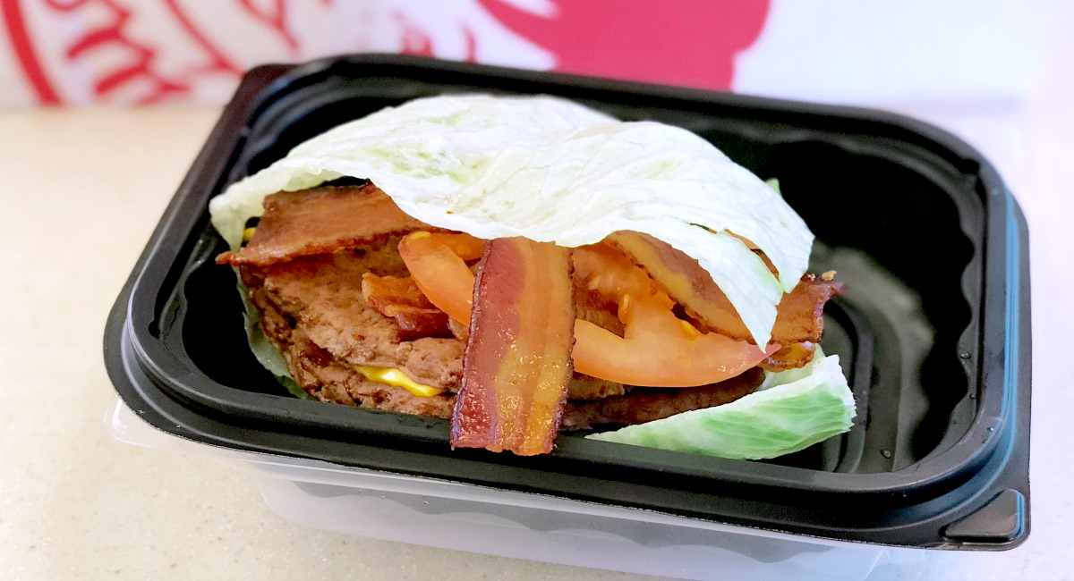 keto lettuce wrapped burger from wendy's