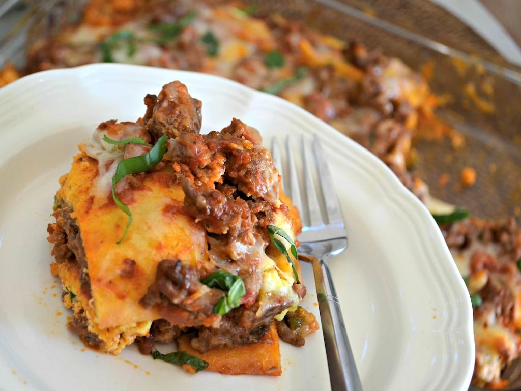 keto lasagna slice on plate