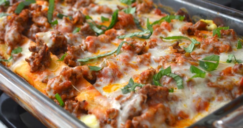 keto lasagna in casserole dish