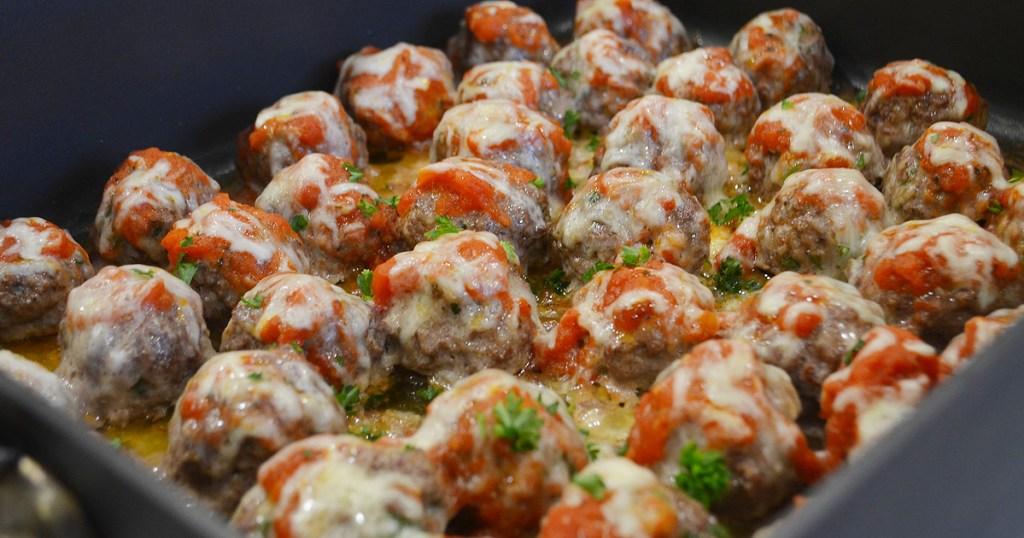 keto meatballs on baking sheet