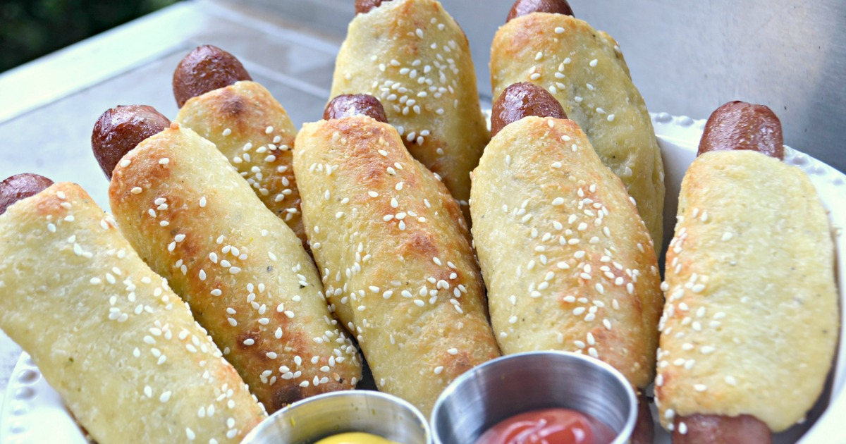 low carb pigs in a blanket arranged on a plate