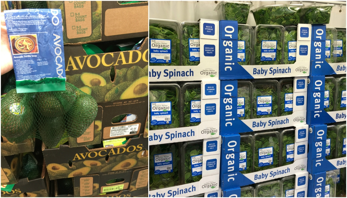 keto vegetables at costco and sam's club including avocados and spinach