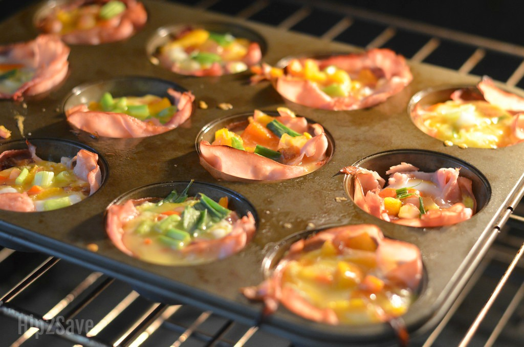 Grab and Go Baked Ham and Cheese Cups Baking in Oven