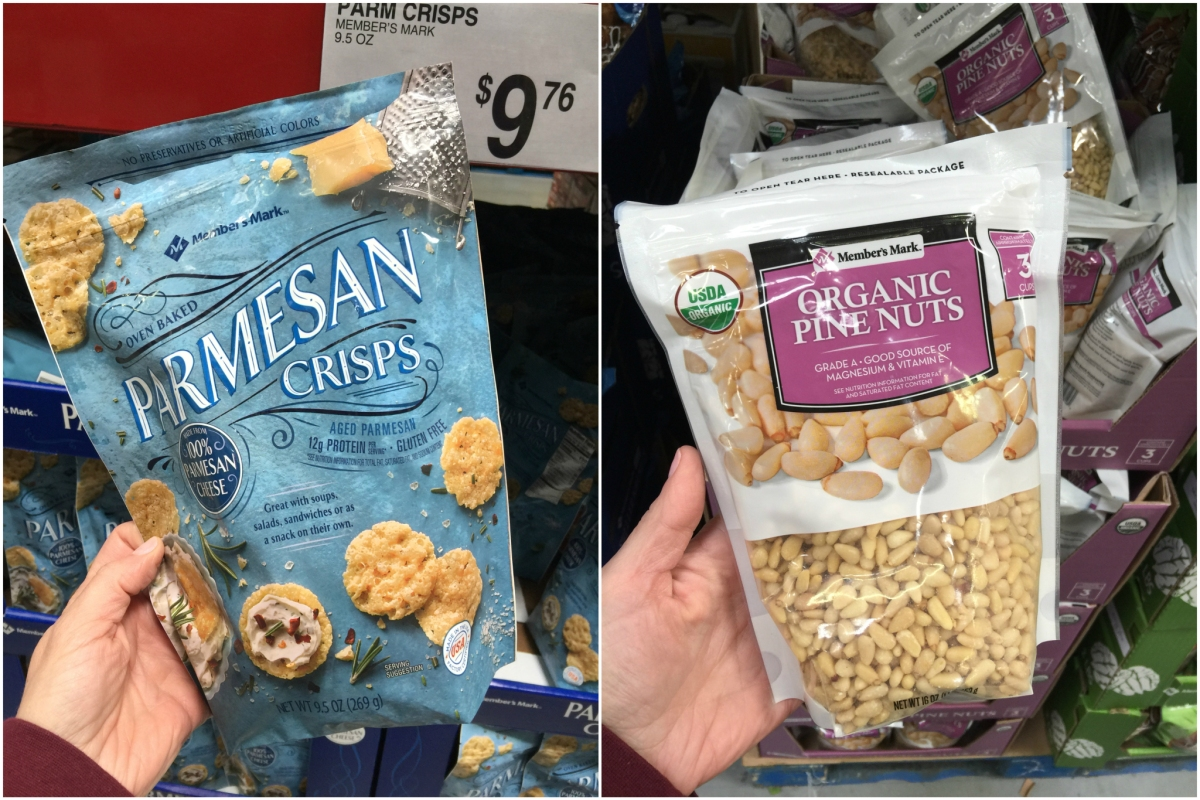 keto snacks at sam's club including parmesan crisps and pine nuts
