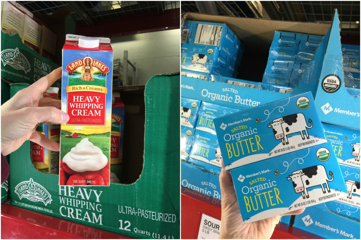 keto dairy at sam's club including heavy cream and butter