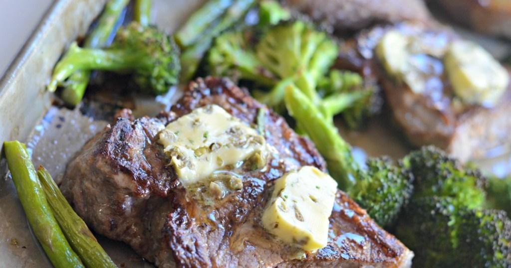 steak sheet pan meal