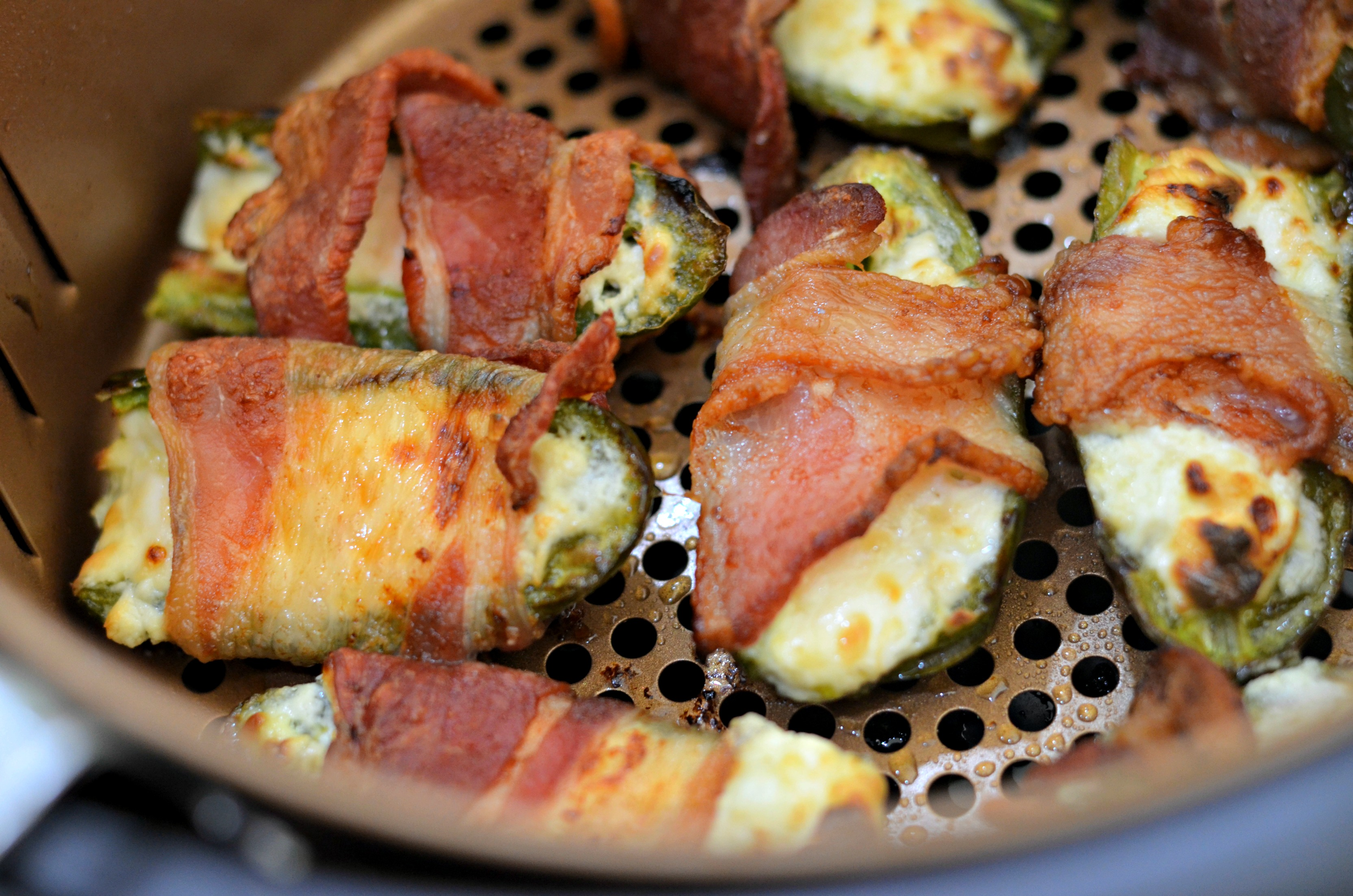 These bacon wrapped jalapeno air poppers in the air fryer are a crowd-pleaser.