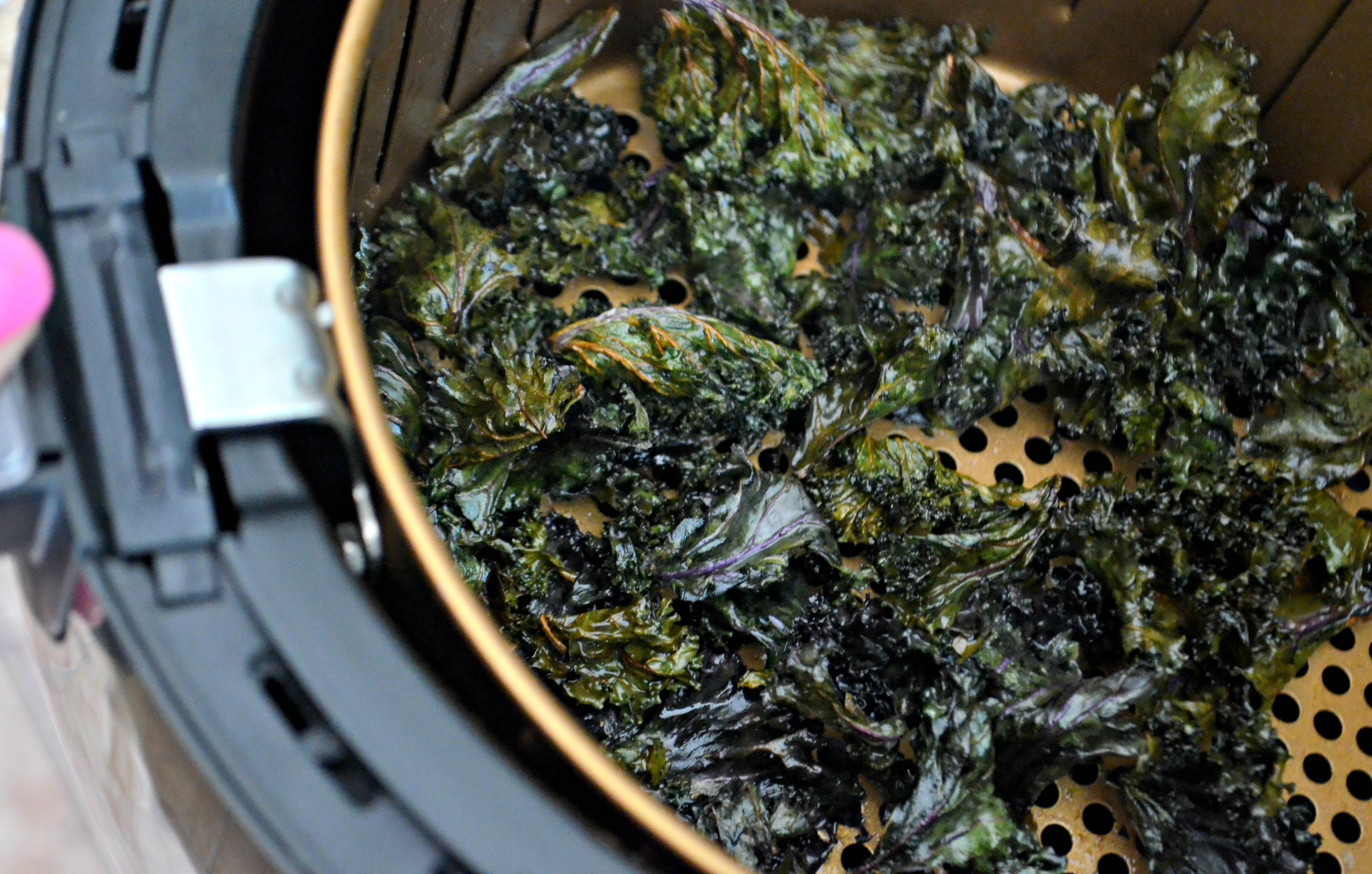 These kale chips cook up crunchy and flavorful in the air fryer.