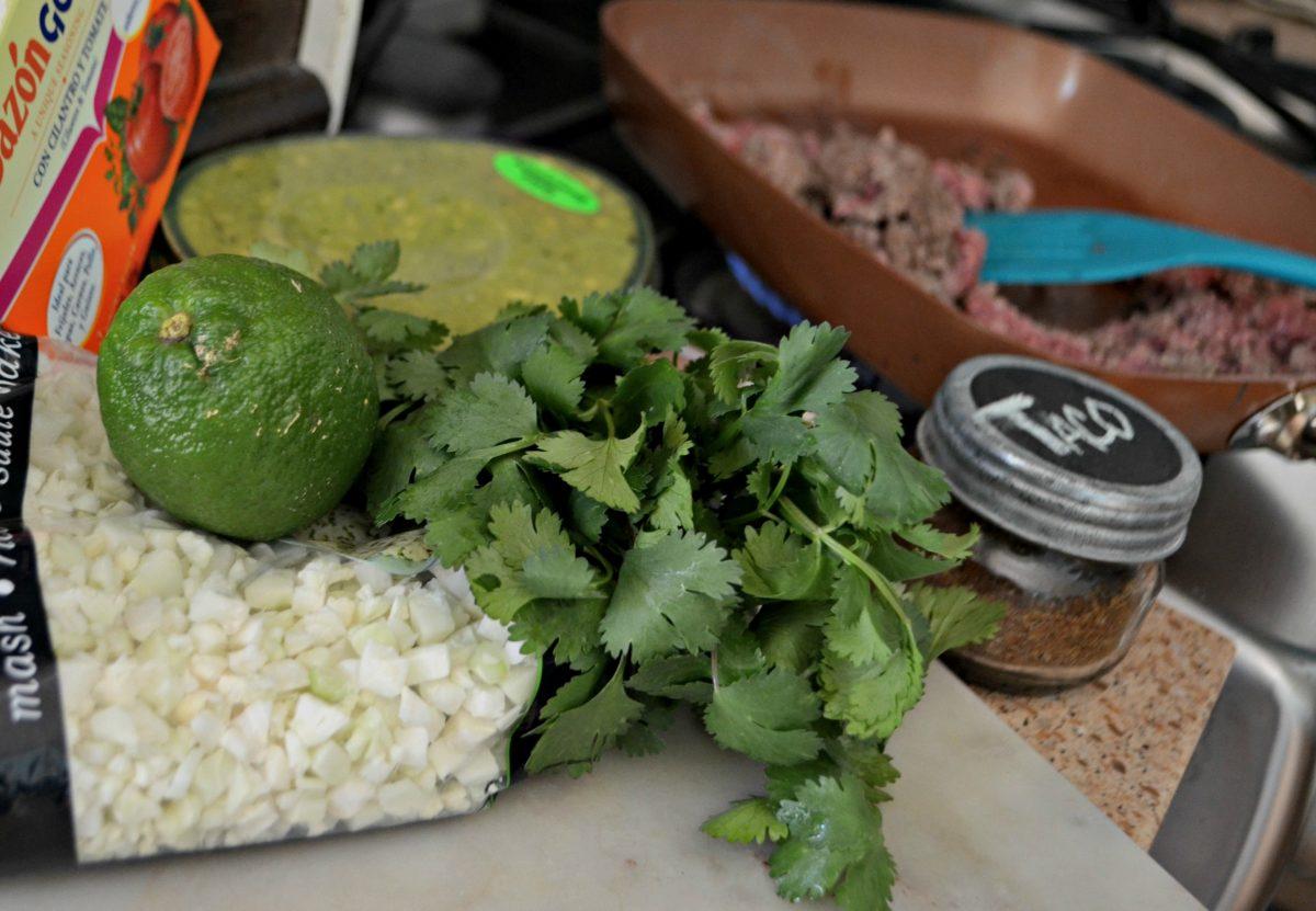 Keto Burrito Bowl with Cauliflower Cilantro Lime Rice - ingredients