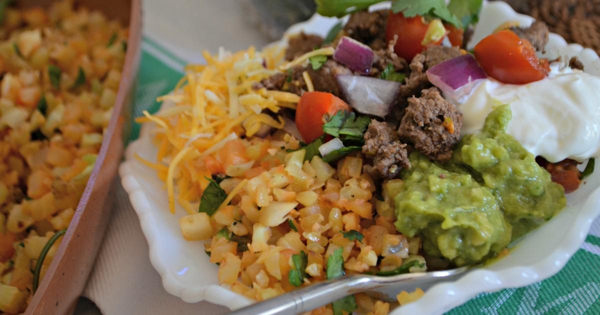 keto burrito bowl with cauliflower rice