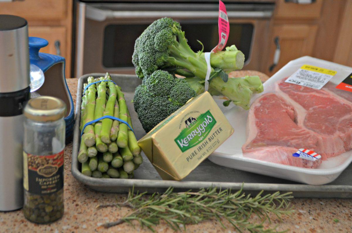 ingredients on sheet pan for keto steak dinner