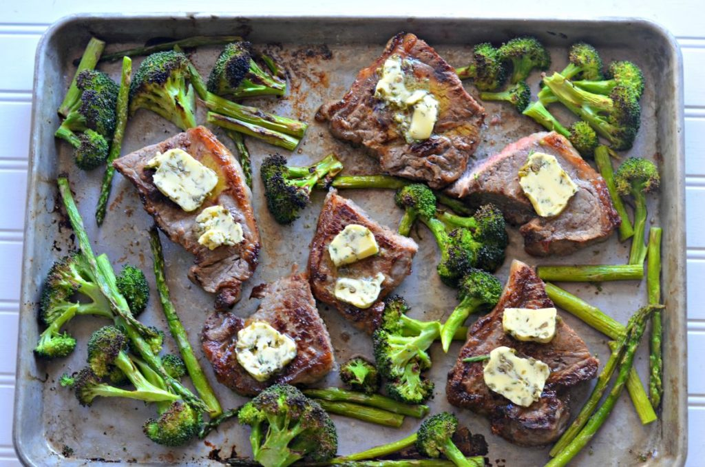 steak and veggies on a pan
