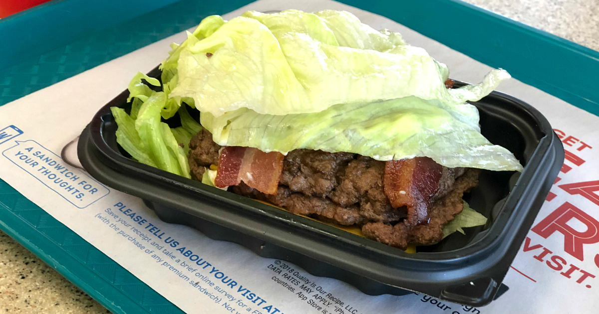 wendys baconator burger deal - wendy's half pound baconator on a tray