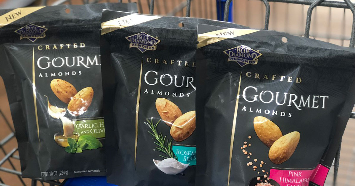 three bags of Blue Diamond gourmet almonds on cart