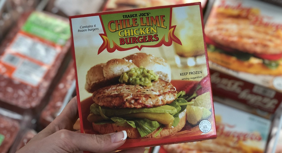 best trader joe's low carb food finds — chile lime chicken burgers