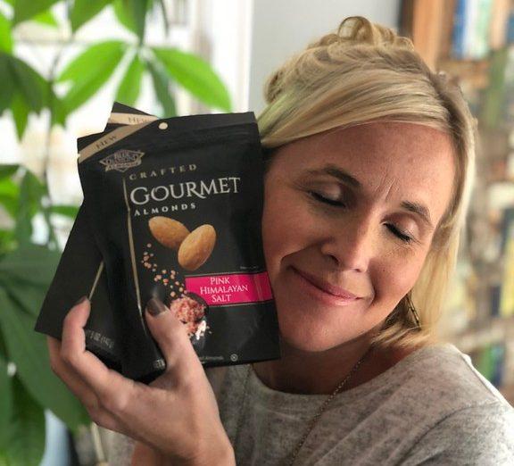 walgreens deal blue diamond almonds – Collin hugging a bag of almonds