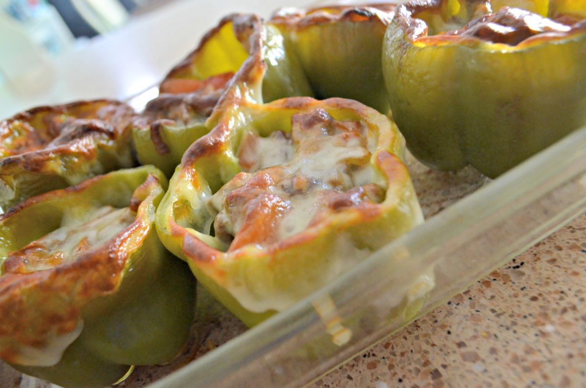 After baking, the cheese on the keto Philly Cheesesteak Stuffed Peppers will be golden like this.