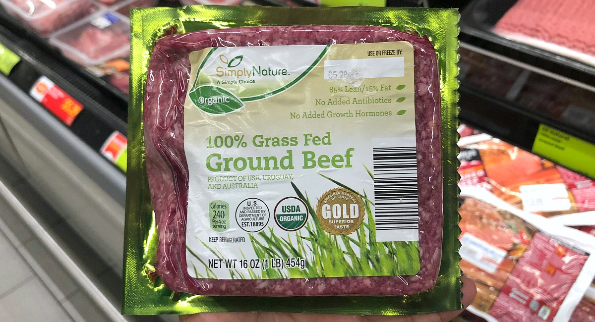 grass-fed ground beef 1 lb package at aldi