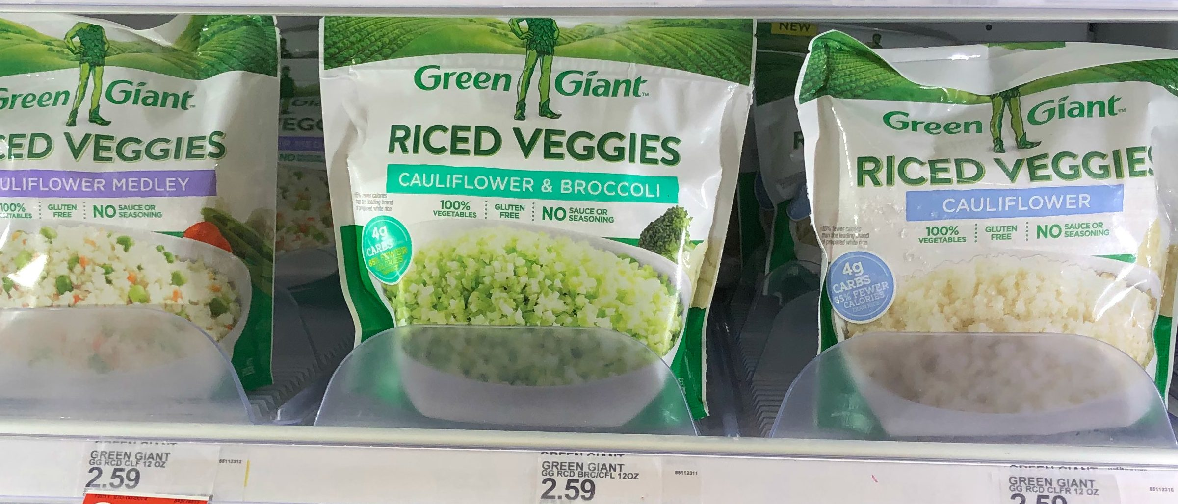 green giant riced veggies are available in the freezer section