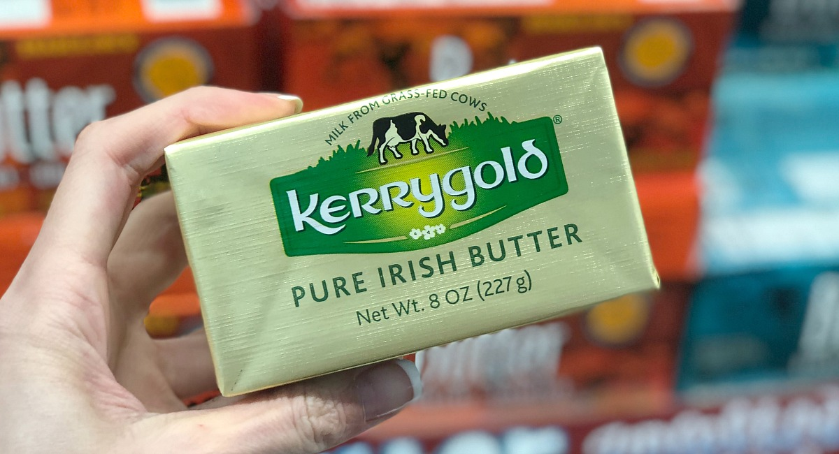 holding Kerrygold butter non fat free food