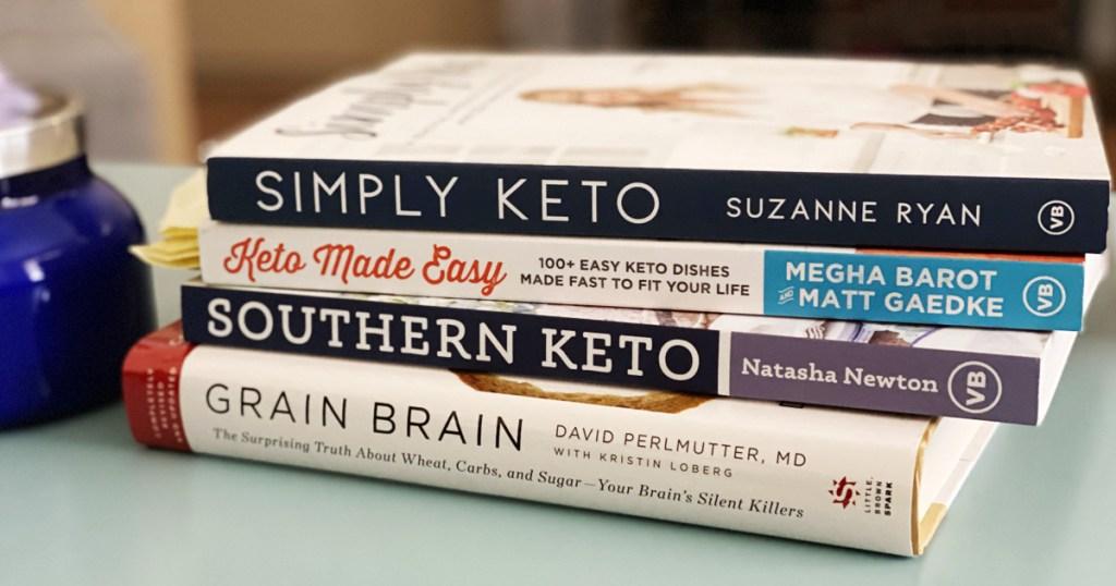 stack of keto books