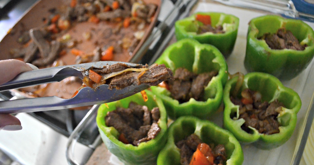 Flank steak is key in these delicious, hearty, low-carb Philly Cheesesteak stuffed peppers.