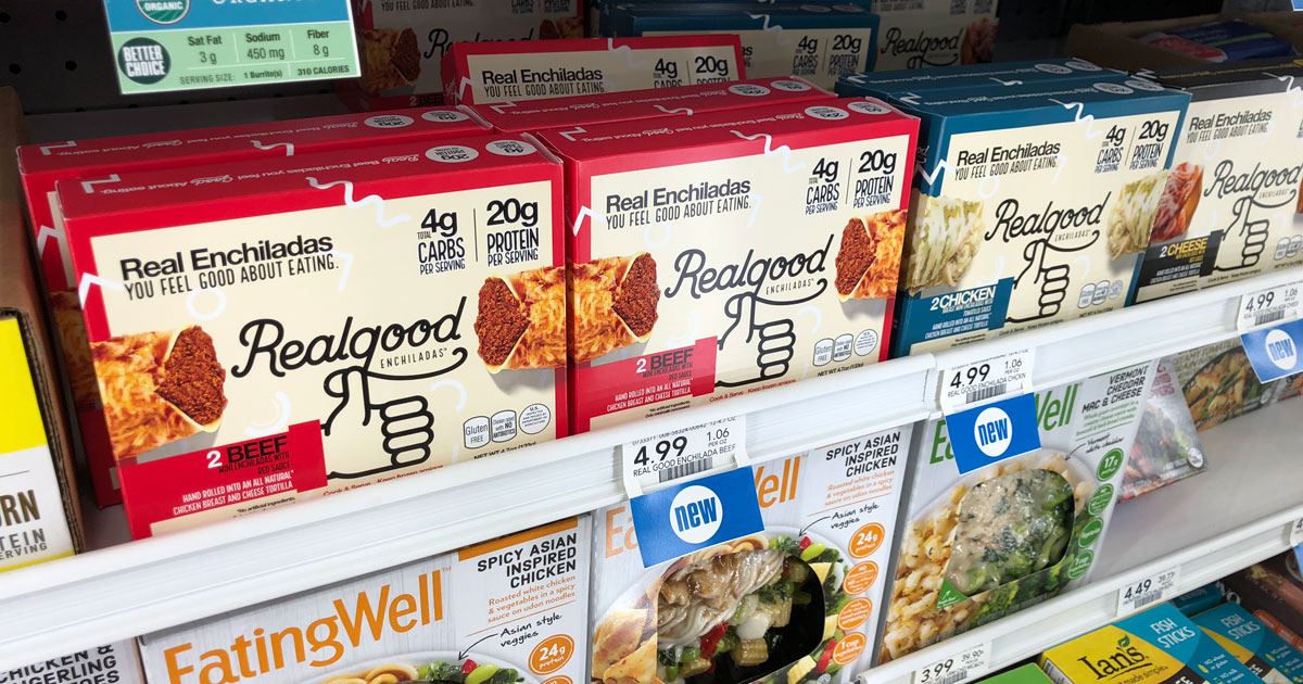 Want a deal on realgood foods? – Front of enchilada box