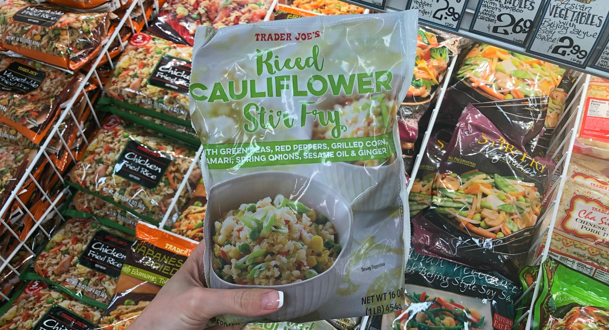 best trader joe's low carb food finds — riced cauliflower stir fry