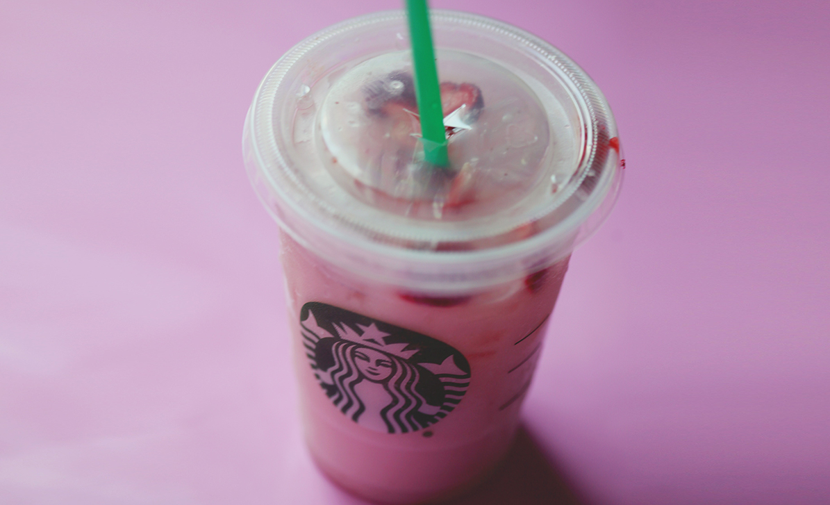 keto starbucks pink drink with iced passion tea and heavy cream