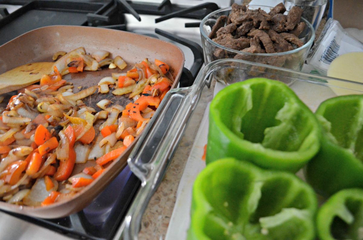 Preparing the meat and the vegetables before baking