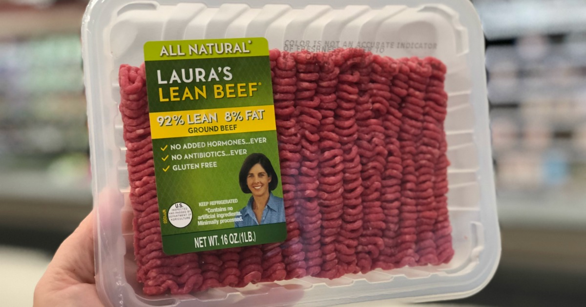 lauras lean ground beef deal - package