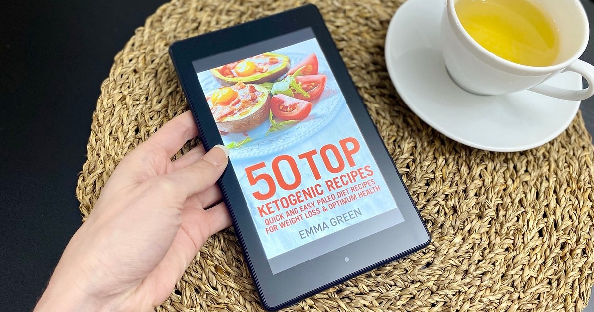 Kindle showing cover of keto cookbook