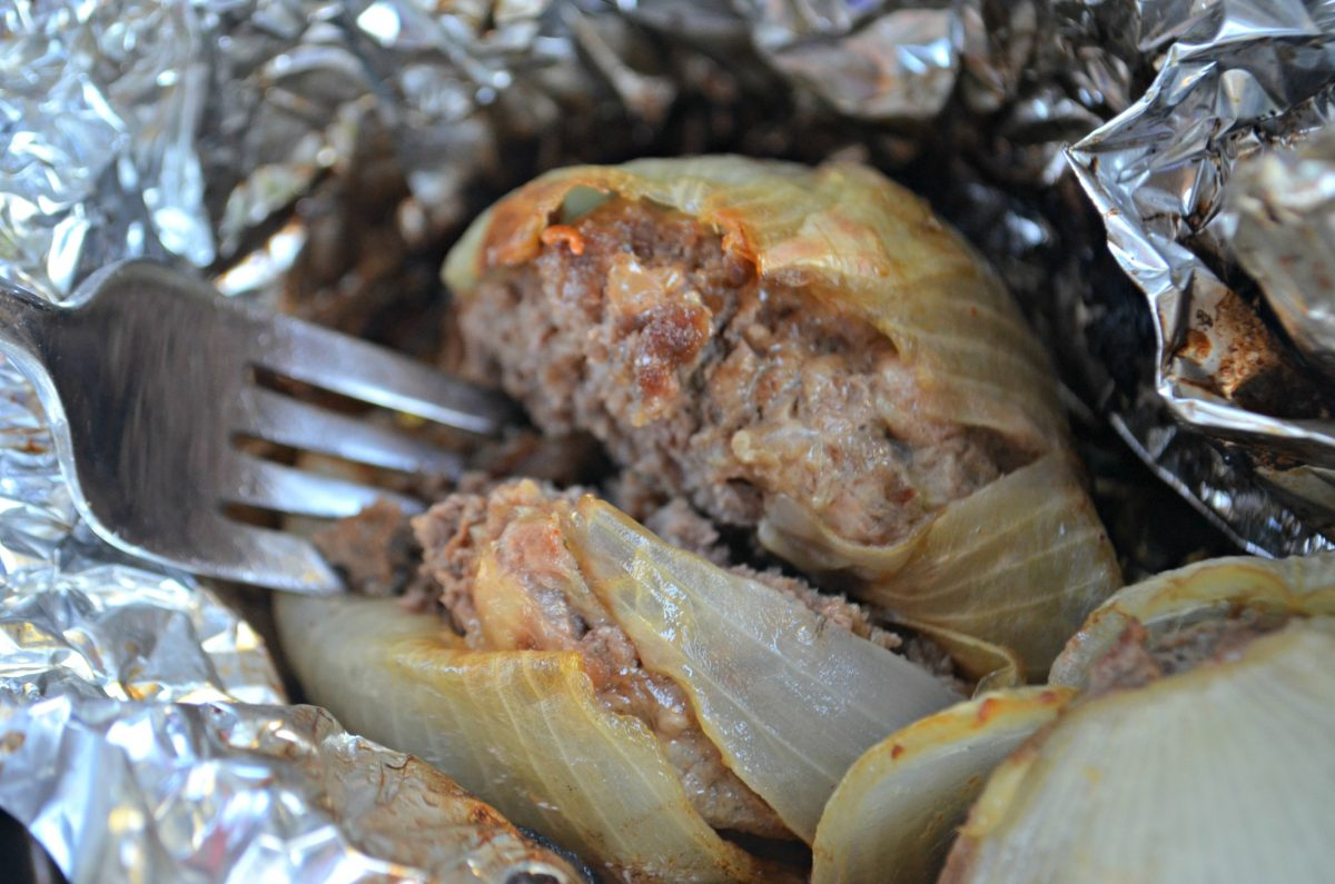 These keto onion cheeseburger bombs are perfect for grilling and camping – in foil after baking