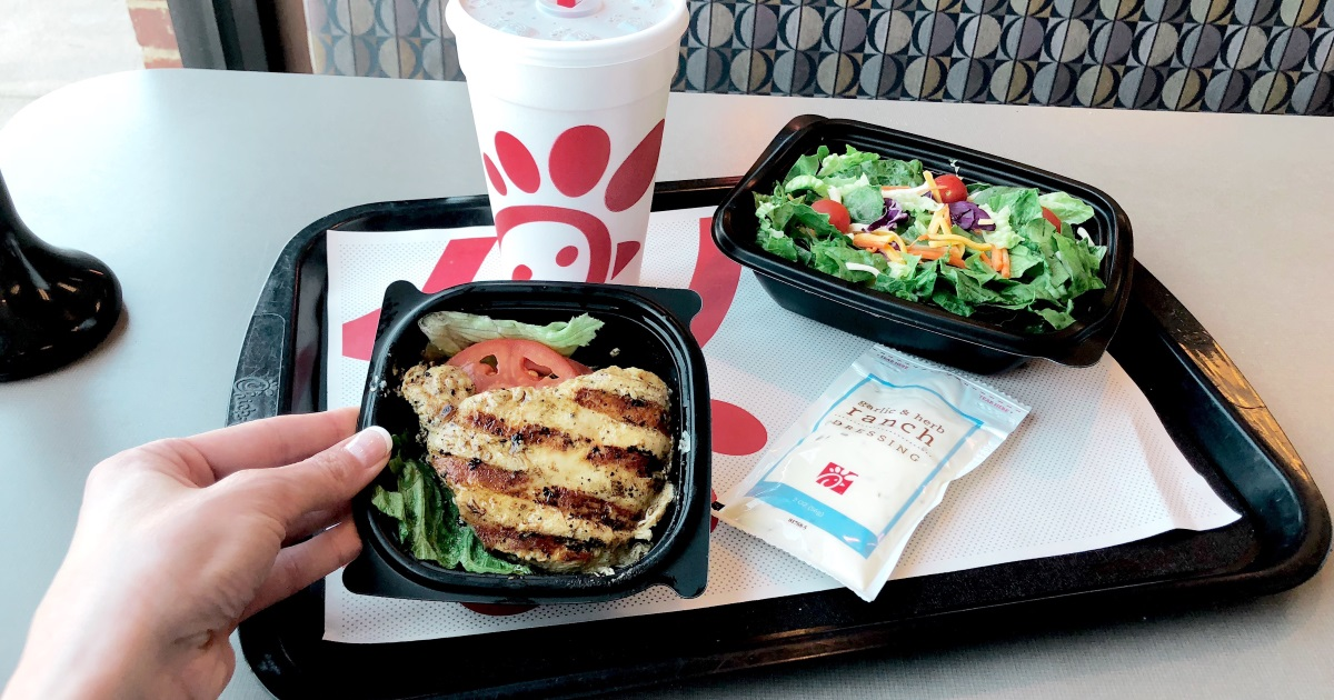 chick-fil-a keto dining guide – grilled chicken and salad