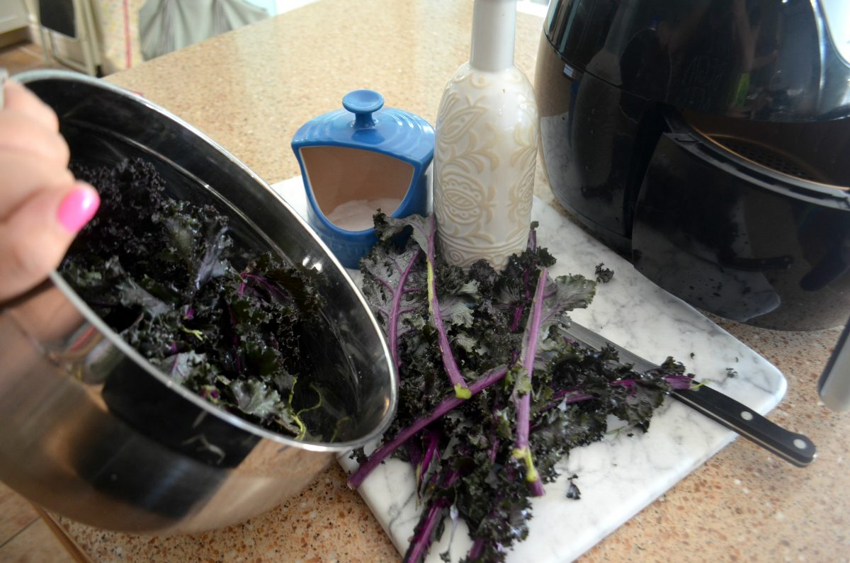keto air fryer kale chips - close up of the raw kale